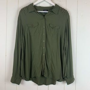 Torrid Button Down Blouse 1X Plus Size Studded
